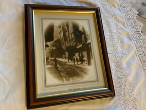 Framed sepia print of York Shambles