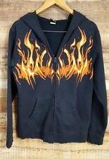 Power Art Men's Flame Skull Full Zipper Face Cover Hoodie Black w/Flames Medium