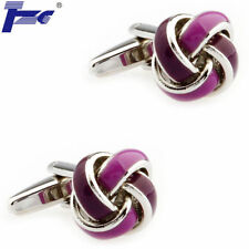 Men Cuff Links Dark & Light Purple Enamel Knots Cufflinks With Velvet Bag