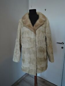 Vintage beige real sheep & mink fur collar coat jacket UK 16 18 L furcoat