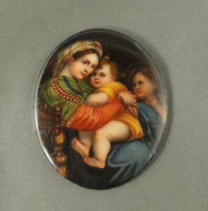 Antique Italian Miniature Painting on Porcelain RAPHAEL Madonna della Seggiola