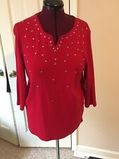 RAFAELLA LADIES SIZE L RED PULLOVER BLOUSE V-NECK 3/4 SLEEVES COTTON SHIRT TOP