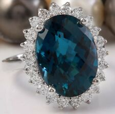 12.06 Carat Natural London Blue Topaz and Diamonds in 14K Solid White Gold Ring