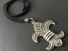 long Black suede statement necklace with silver Fleur De Lis pendant Lagenlook