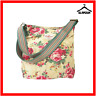 Cath Kidston Cross Body Messenger Tote Bag Fabric Cotton Large Beige Floral Y8