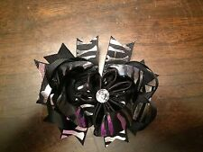 "Girls Black with silver zebra stripe hair bow 4 1/2"" with barrette"