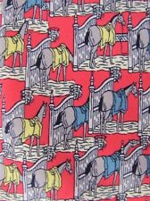 Auth HERMES Paris 7368 PA Candy Apple Red Horses Stabled Whimsical Silk Neck Tie
