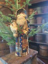 New listing Primitive Christmas German Style Crazy Quilt Santa Claus- Snowman