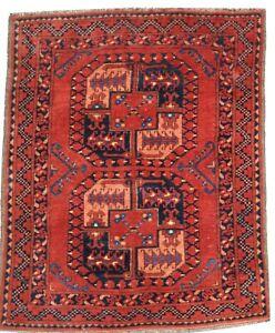 Oriental Carpet, handmade wool Afghan Ersari rug in brown colours 4 x 3 FT