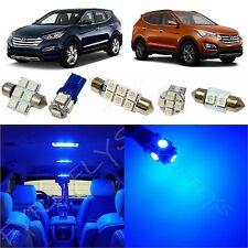 9x Blue LED lights interior package kit for 2013 - 2016 Hyundai Santa Fe YF1B