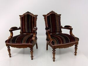 Dollhouse Miniature Pair of Artisan 1979 Wood Striped Velvet Arm Chairs 1:12