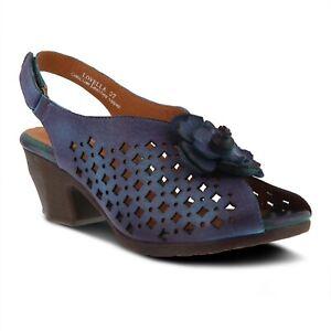 L'Artiste Lovella Women's Hand painted leather sling back sandal in Blue Eur 39