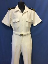 USN- NEW LT WHITE UNIFORM ( 100% POLYESTER) SHIRT SIZE L,PANTS 35, 36R OR 37R