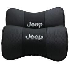 2Pcs Car Headrest AUTO Pillow Black Leather Seat Neck Rest Cushion For Jeep