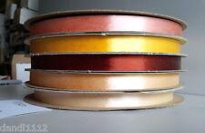 "Vintage Sasheen Ribbon 3M 5 Rolls 5/8"" Almond Brown Peach Gold R327"