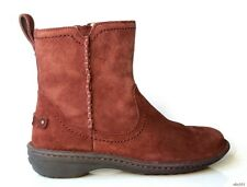 new UGG chocolate brown suede instep zipper ANKLE BOOTS 6 - fabulous