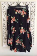 Topshop Black and Coral Floral Print Asymmetric Midi Skirt, UK Size 12 New