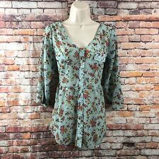 Mossimo Supply Co Women's L/G Button Front Blue Floral Semi Sheer Top 3/4 Sleeve