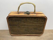 Vtg Wooden Bohemian Floral Boho Handmade Purse With Wrapped Handles +metal Clasp