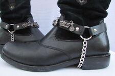 New Men Women Biker Western Silver Boot Chain Pair Leather Strap Motorcycle Stud