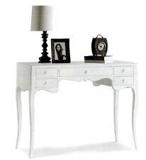 Scrivania Scrittoio 11413 classico legno massello 5 cassetti bianco 102x50x80H