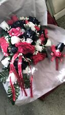Black Red and White wedding Cascade bouquet bout Request color RUSH AVAILABLE