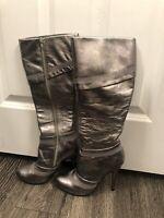 Aldo Silver Pewter Knee High Heels Women's Boots 36 6