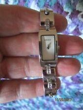 DKNY ~ Dainty Polished Stainless Steel Link Watch ~ Rhinestones ~ EUC!