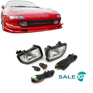 For 1991 1995 Toyota MR2 Front Driving Fog Light Lamp Clear W/Harness Set LH+RH
