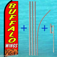 BUFFALO WINGS SWOOPER FLAG + 15' TALL POLE MOUNT KIT Feather Flutter Banner Food