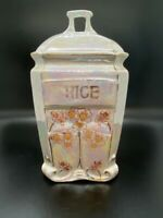 Vintage - White Block Lusterware - Rice Canister - Made in Germany