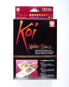Sakura Koi 30 Set of Pan Watercolours by with Water Brush Watercolour Travel Kit