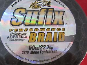 Sufix Performance  Braid 50lb - 1200 Yds - Green