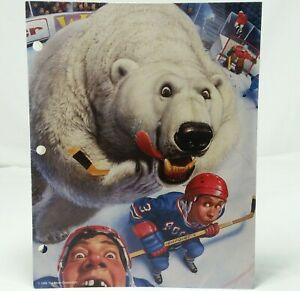 Mead No Rules Portfolio Folder Hockey Polar Bear Sports Art Vintage 90s School