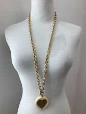 Juicy Couture Gold Plate Heart Pendant Necklace in Gift Bag Long Chunky RARE