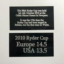 2010 Ryder Cup - 130x70mm Engraved Plaque Set for Signed Golf Flag / Memorabilia