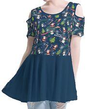 Christmas Night Women Cutout Shoulder Tunic Blouse Mini Dress b42 acc02568