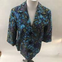Womens Chicos Blue Multicolor Blazer Jacket Size 1