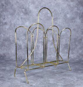 Vintage MCM Hollywood Regency Magazine Rack Holder Gold Wire