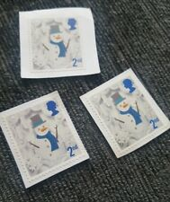 Snowman 2nd Class Stamp X3 POSTAGE Christmas Stamp 2016 Used