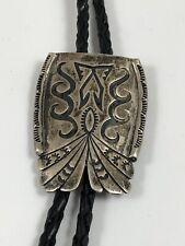 Navajo Vintage Handmade Sterling Silver Overlay Bolo Tie