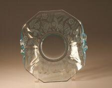 Vintage Fostoria Glass Azure Blue Kashmir Handled Card Tray Bonbon c.1935