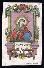 santino incisione 1700 SALVATOR MUNDI dip.a mano BENDL