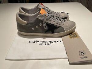 Golden Goose Superstar Low Top Sneakers Men's Grey Orange Trim Shoes Size 44