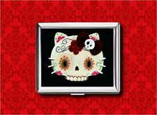 HELLO SUGAR SKULL KITTY CAT ROSE METAL WALLET CARD CIGARETTE ID IPOD CASE
