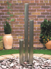 BRUSHED TRIPLE Stainless Steel TUBE Water Feature & Pump - 76mm Ø x 1150mm H