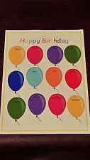 OUR BIRTHDAYS ON  BALLOONS -LAMINATED POSTER CLASSROOM/CHILDMINDER DISPLAY EYFS