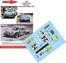Decals 1/32 ref 1094 Alpine Renault A110 Darniche Rallye Coupe des Alpes 1971