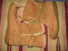 WOMENS 9 EARTH SPIRIT WILLOW TAN SUEDE FAUX FUR LINED WARM SNOW WINTER BOOTS