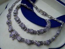"GORGEOUS VINTAGE 3D ROSE STERLING SILVER MARCASITE SET 15"" NECKLACE 7"" BRACELET"